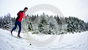 Young man cross-country skiing on a snowy forest trail