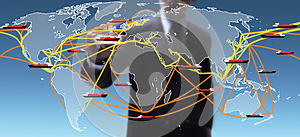 World shipping routes map