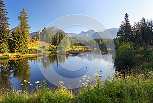 Nature mountain scene with beautiful lake in Slovakia Tatra