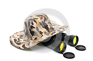 Binoculars and a safari hat