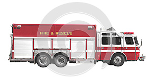 Fire and rescue truck isolated.