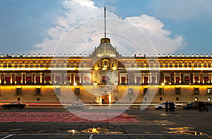 Illuminated National Palace in Zocalo of Mexico City