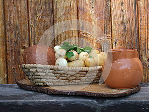 Scuttle of bread and jug