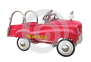Child pedal fire truck isolated