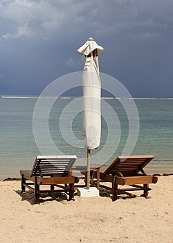 Two beach chairs along the ocean, destination scenics