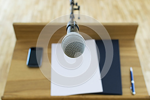 Microphone at the speech podium