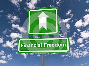 Financial freedom sign with arrow