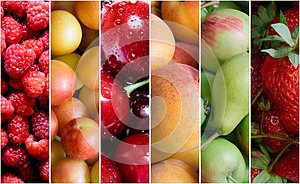 Fruta saludable de alimentos collage.