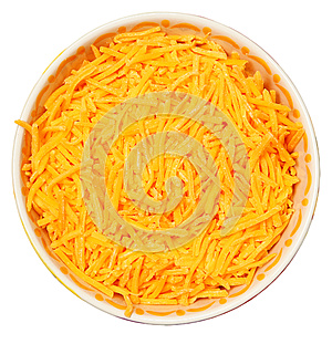 Bowl of Shredded Cheddar Over White