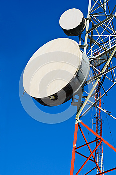 Telecommunication towers with blue sky