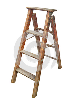 Old wooden stepladder isolated.