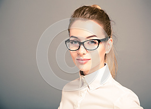 Portrait of Business Woman Wearing Glasses