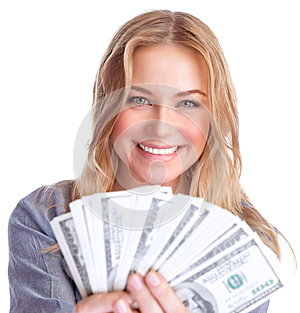 Cute girl winning money