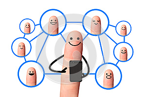 Happy finger, Social network concept, isolated with clipping pat