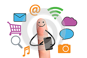 Happy finger using smart phone for online, isolated with clippi