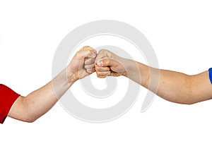 Greeting with fist bump