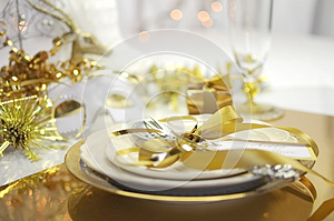 White and gold Happy New Year elegant fine dining table place setting