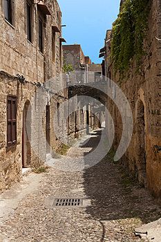 Medieval street of knight. Greece. Rhodos island. Old town. Street of the Knights photo (Now Embassy street)Greece. Rhodos island.