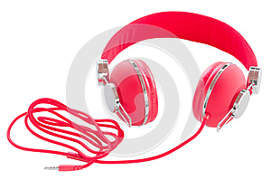 Vibrant red wired headphones isolated