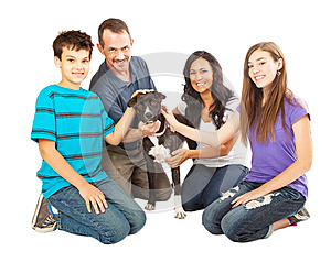 Happy Family With Rescue Dog