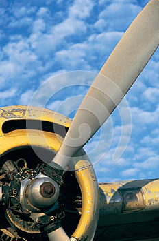 Airplane propeller with blue sky