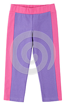 Purple-pink sweatpants isolated on white