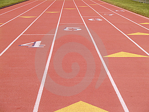 Numbered lanes running track