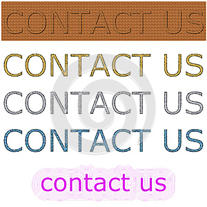 Color rectangular background with contact us spell