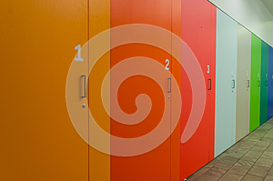 Coloured and numbered cupboards