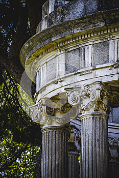 Temple, Greek-style columns, Corinthian capitals in a park