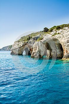 Famous blue caves view on Zakynthos island, Greece