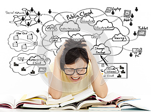 Shouting and painful student girl with cloud computing structure
