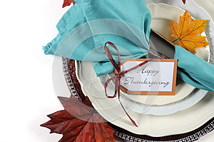 Happy Thanksgiving dining table place setting in Autumn brown and aqua color theme