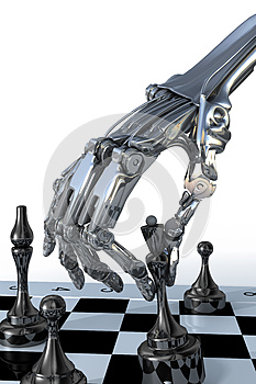 Robot or cyborg plays a chess. High technology illustration