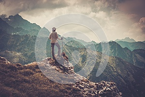 Woman hiker on a mountain
