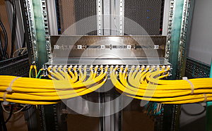 Copper network patch panel in a data center