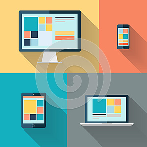Desktop computer, laptop, tablet and smart phone on color background vector illustration.