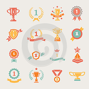 First Place Badges and Winner Ribbons vector