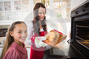 Smiling mother and daughter with roast turkey