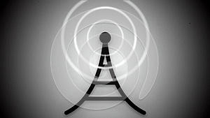 Black and White Communication Tower Icon Animation Loop