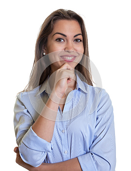 Attactive businesswoman with long dark hair