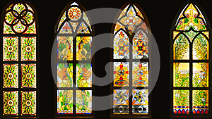 Stained glass window,colorful glass window,