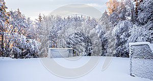 Soccer pitch in Winter
