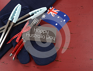 Australia Day, January 26, theme red, white and blue barbeque setting