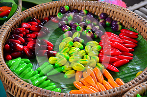 Thai desserts Deletable Imitation Fruits (Kanom Look Choup)