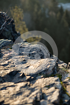 Rock at the mountain at sunset time