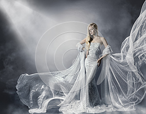 Young Woman in Fashion Shiny Dress, Lady in Flying Clothes, Girl under Star Light