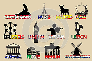 set of icons symbols capitals Europe.vector illustrayion