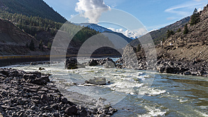 Kayaking in the Rapids of the Fraser River in the Fraser Canyon