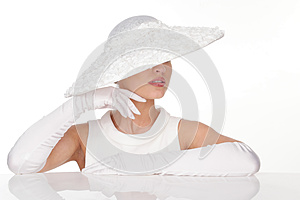 Mysterious Woman in Elegant white Hat and glowes